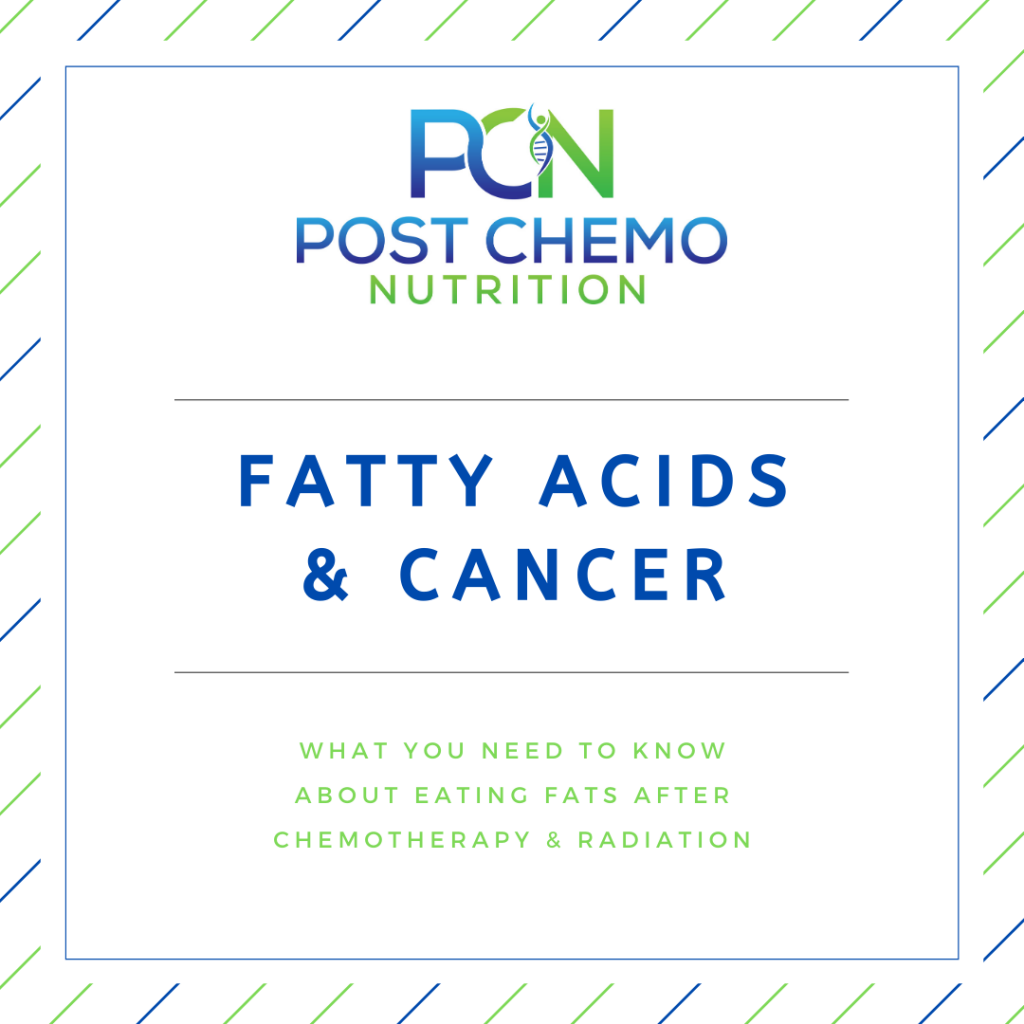 Infographic for PCN Post Chemo Nutrition blog post titled Fatty Acids & Cancer
